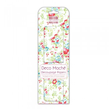 First Edition Deco Mache / 3ks / Red and Blue Flowers