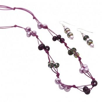 Set na náhrdelník a nášnice Lucienne / fialový