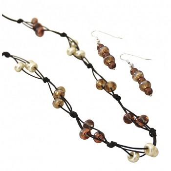 Set na náhrdelník a nášnice Lucienne / hnedý
