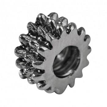 Metal round, 8mm, 3pcs., oxidized silver