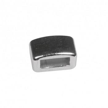 Kovový korálek čtvercovy / 1 ks / stříbro