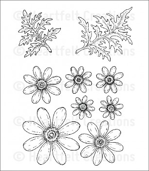 Cling Stamp Set / Delightful Daisies
