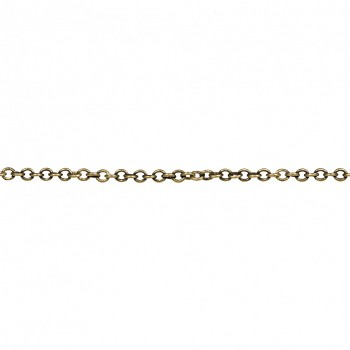 Metal- element chain w. clasp, 2mm, 43cm, oxidized gold