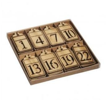 Drevený adventný kalendár / 6x3cm / 24ks