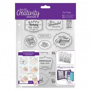 A5 Clear Stamp Set (18pcs) - Trad Sentiment