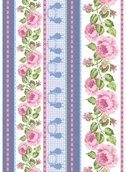 Filz 50x70cm /1mm / Roses Bordures