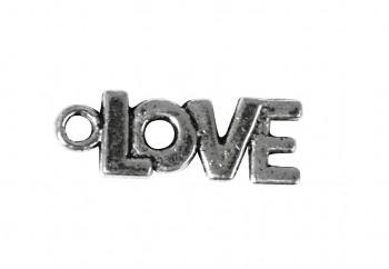 Kovová ozdoba / Love / staré striebro / 17mm