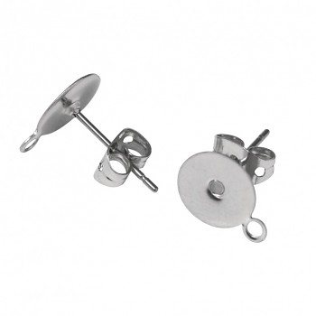 Ear-studs / 4pcs / 8mm / stainless steel - platinum