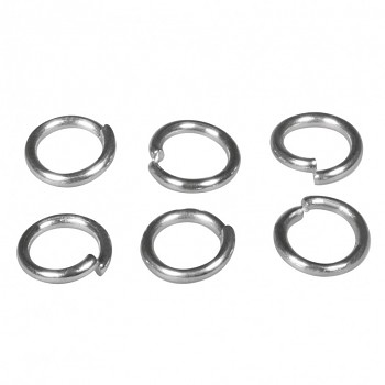 Stainless steel ring / 50pcs / 6mm / platinum