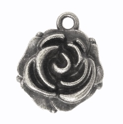Metal Ornament / Rosebud / 14x18mm / Silber