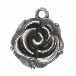 Kovová ozdoba / Rosebud / 14x18mm / stříbrná