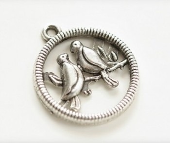 Metal Ornament / Birds on Tree / 20x24mm / Silber