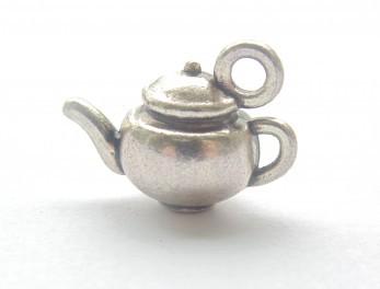 Kovová ozdoba / Tea Party / 15x5mm / stříbrná