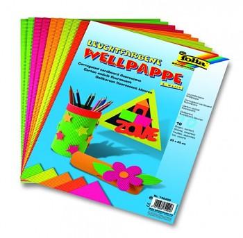 Vlnitý papier 25x33cm / neónové farby / 10ks