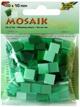 Živicová mozaika 10x10mm / zelený mix