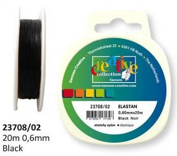 Stretch Elastic Cord black 0,6mm / coil 20m