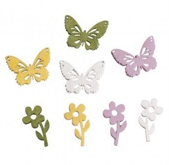 Wooden Objects Flowers & Butterflies / 2cm / 24pcs