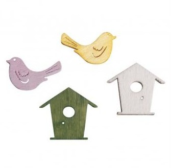 Wooden Objects Birds & Bird's nests / 2cm / 24pcs