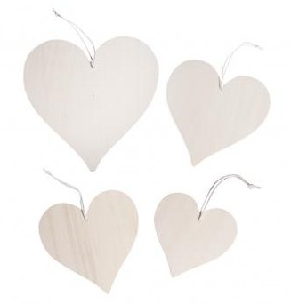 Wooden hearts Set to hang / 4pcs