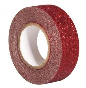 Glitrová páska / 15mm x 5m / červená