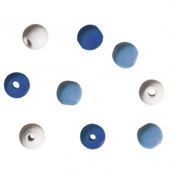 Dřevěné korálky / 9mm / 60 ks / modrá-sv.modrá-bílá-béžová