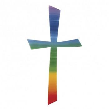 Vosková dekorácia na sviečky / kríž dúhový / 10,5x5,5cm