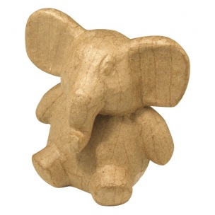 Papier maché pokladnička - slon / 12.5 x 9.5 x 13 cm