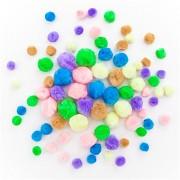 Assorted acrylic pastels Pom poms / 78pcs