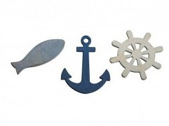 Drevené dekorácie anchor, wheel, Fish / 5,5cm / 9ks