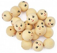 Wooden Beads - Face / 30mm / 5pc