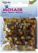 Živicová mozaika 5x5mm / trblietavá hnedá