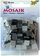 Mosaik 10x10mm / glitter grey