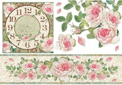 Papier ryżowy decoupage 48x33cm / Clock with Roses