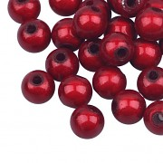 Shiny beads / 8 mm / 20pcs / red