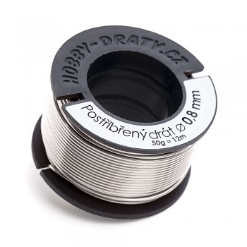 Silver-plated wire 0,8 / 50g