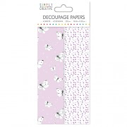 Simply Creative Decoupage Paper / 4ks / Lilac Butterflies