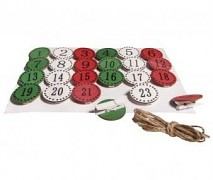 Adventný kalendár MDF kolieska na štipcoch / 3,5cm / 24ks