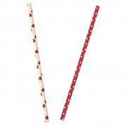 Paper straw / Red with dots / 25szt