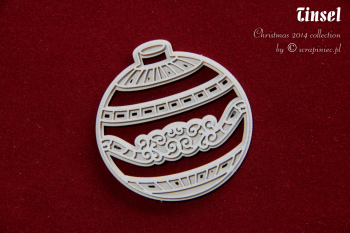Chipboard - Tinsel - 2-layers bauble 01 / 5x5,5cm