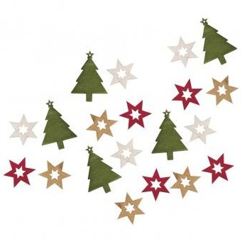 Wooden objects fir tree+stars / 2-3cm / 20pcs