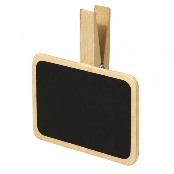 Wooden mini blackboard on peg / 7x5cm / 6pcs