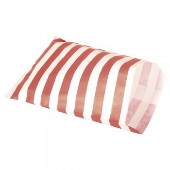 Papiertütchen Lebensmittelecht, rot gestreift 25Stück, 12,9x16,8cm
