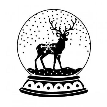Drevené razítko / Sob v snežítku  / 5x5cm