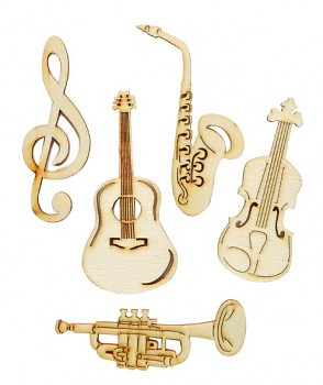 Wooden Embellishments / musical instruments / 5pcs