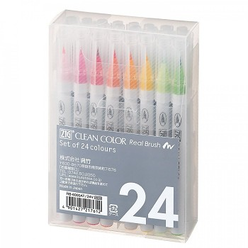 ZIG Clean Color Real Brush - Set of 24 pens