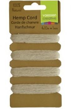Hemp cord / 1mm / 4x10m / natural