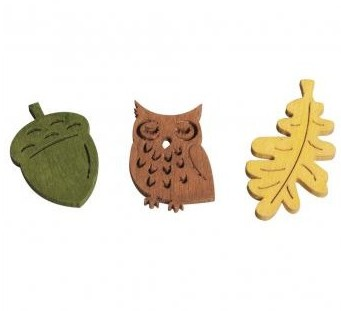 Wooden objects Owl,acorns+leaves / 2,5-3,8cm / 24pcs