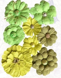 Handmade paper symphony flowers green / 8St.