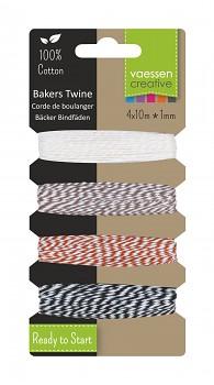 Bakers twine / 1mm / 4x10m / ecru-brown-red-black