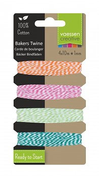 Bakers twine / 1mm / 4x10m / orange-pink-green-turquoise